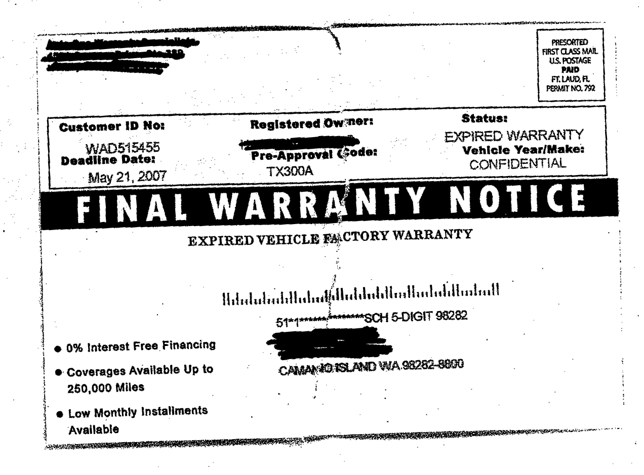 Don 39 T Be Tricked By Car Warranty Notices Washington State
