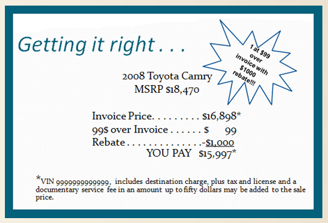 Dealer Advertising Washington State - What is car invoice price vs msrp for service business