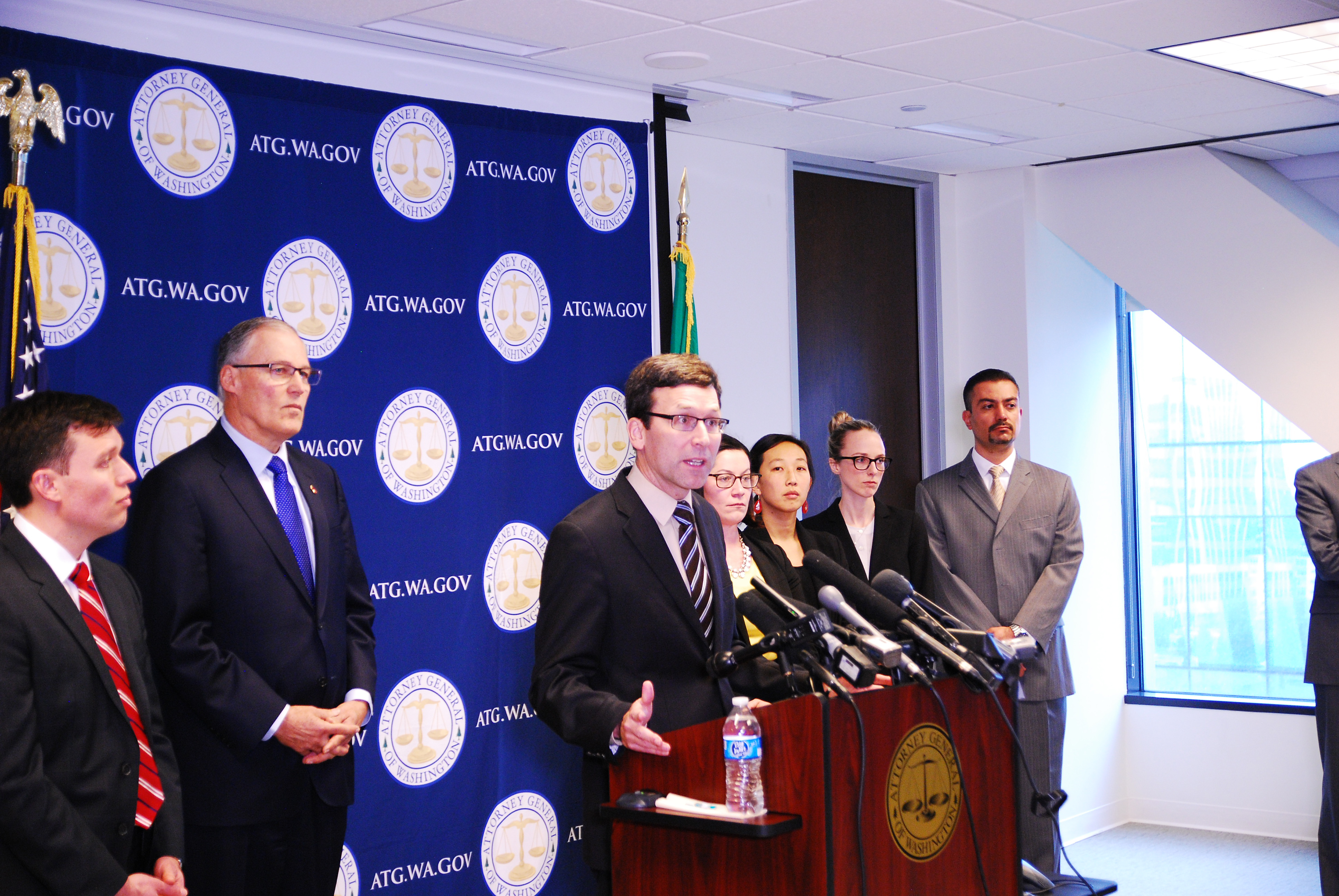 Attorney General Bob Ferguson announces lawsuit challenging Trump executive orders at a Jan. 30, 2017 press conference.
