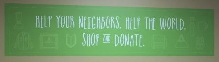 "Value Village ad: ""Help your neighbors. Help the world. Shop and donate."""
