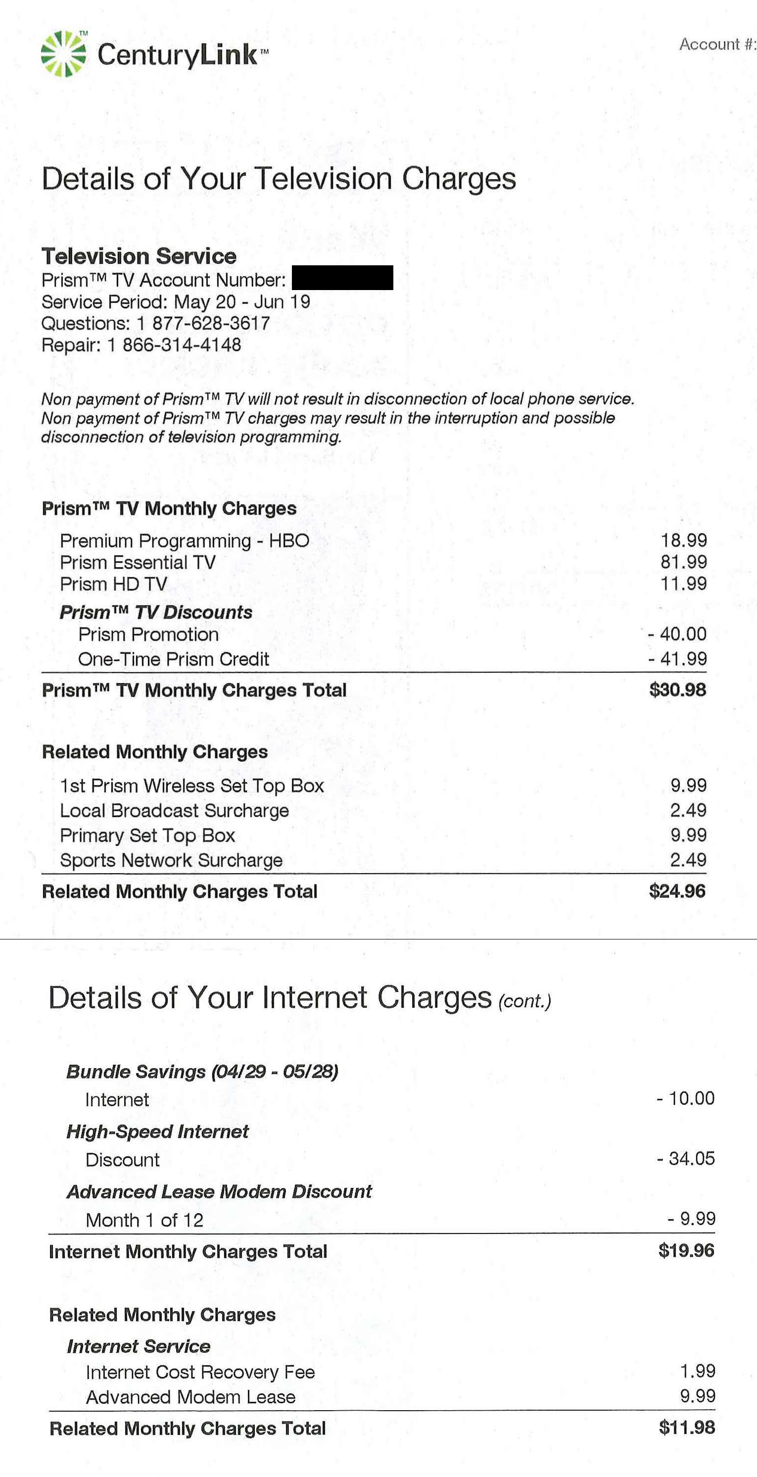 Screenshot of CenturLink bill showing additional charges