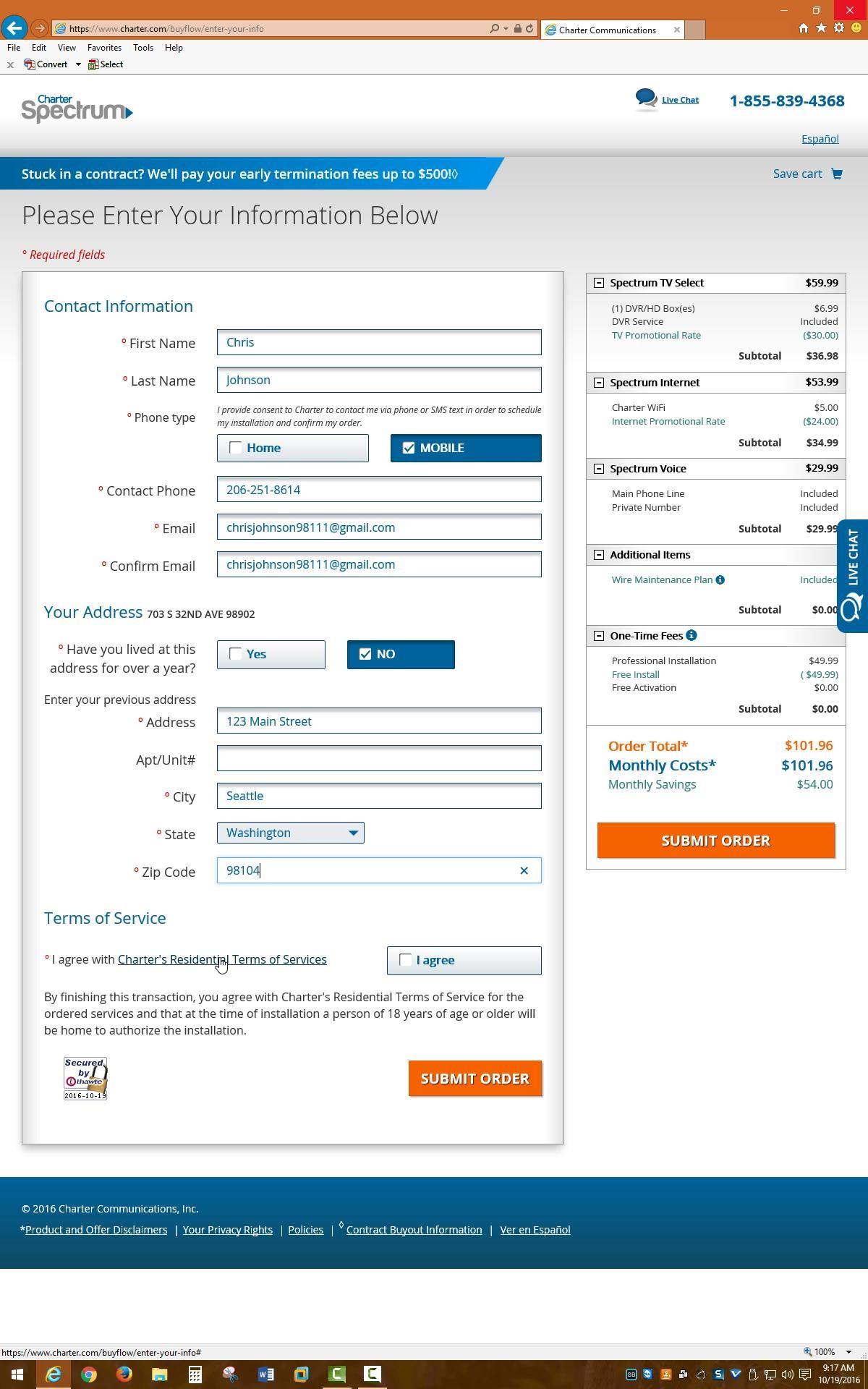 Screenshot of online order form