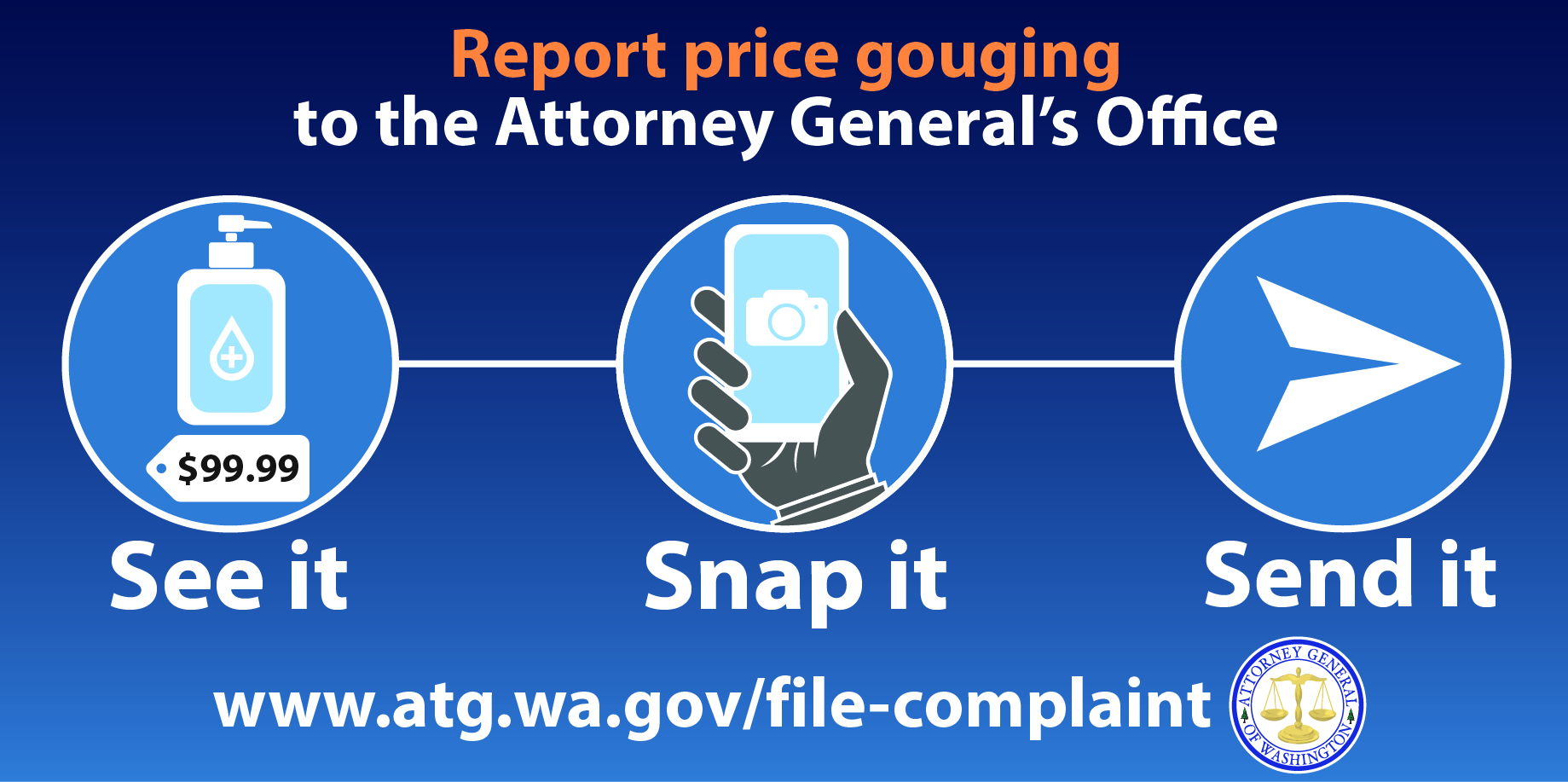 Ag Ferguson Launches See It Snap It Send It Campaign Encouraging Washingtonians To Report Price Gouging Washington State