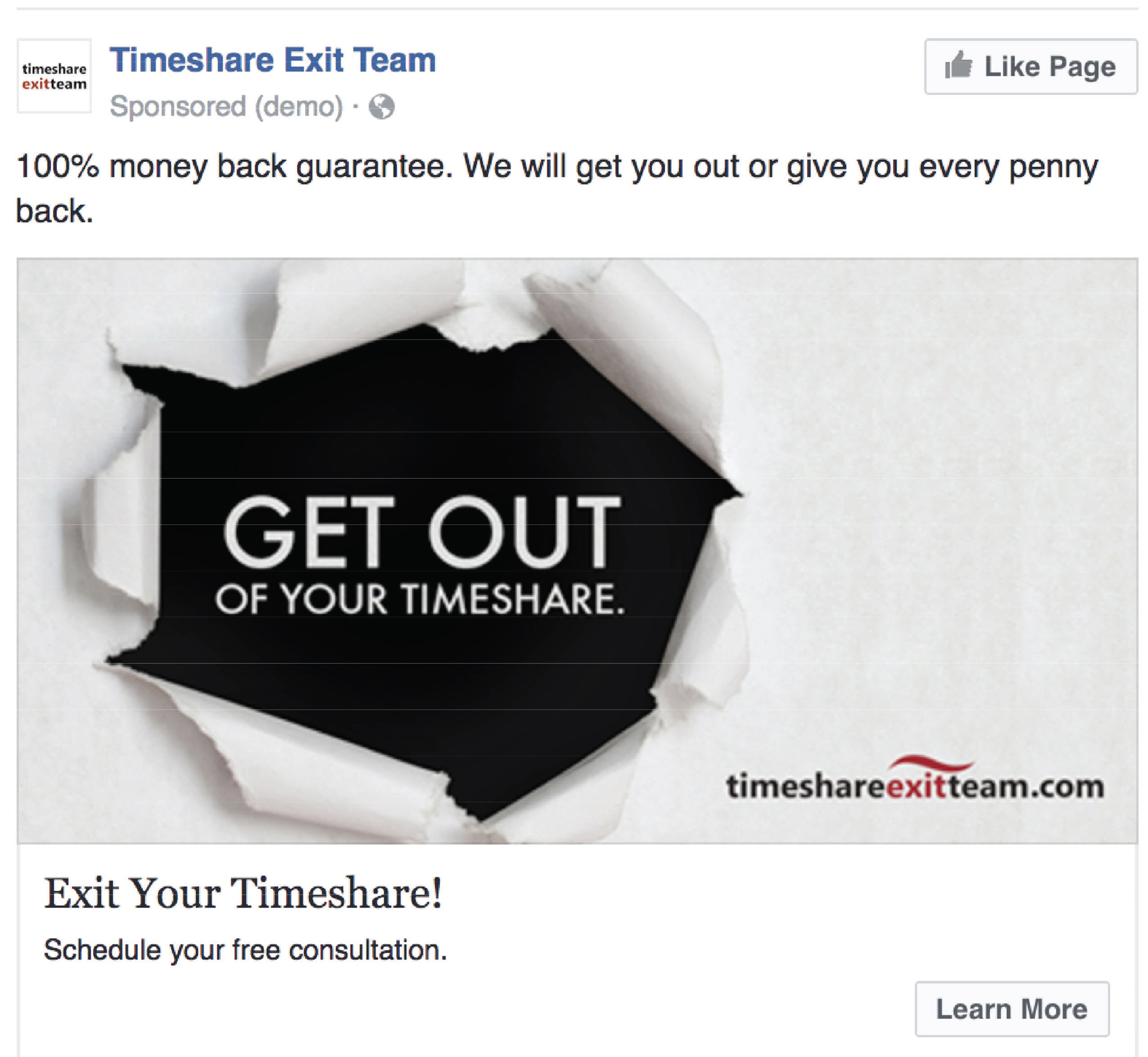 "Facebook ad for Timesahre Exit Team: ""100% money back guarantee. We will get you out or give you every penny back."""