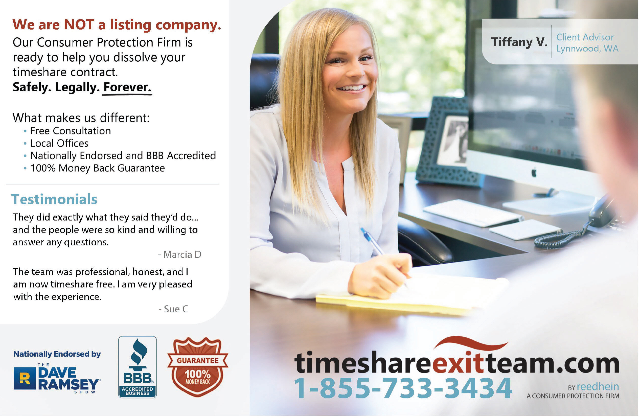 "Print advertisement for Timeshare Exit Team advertising a ""100% Money Back Guarantee."""