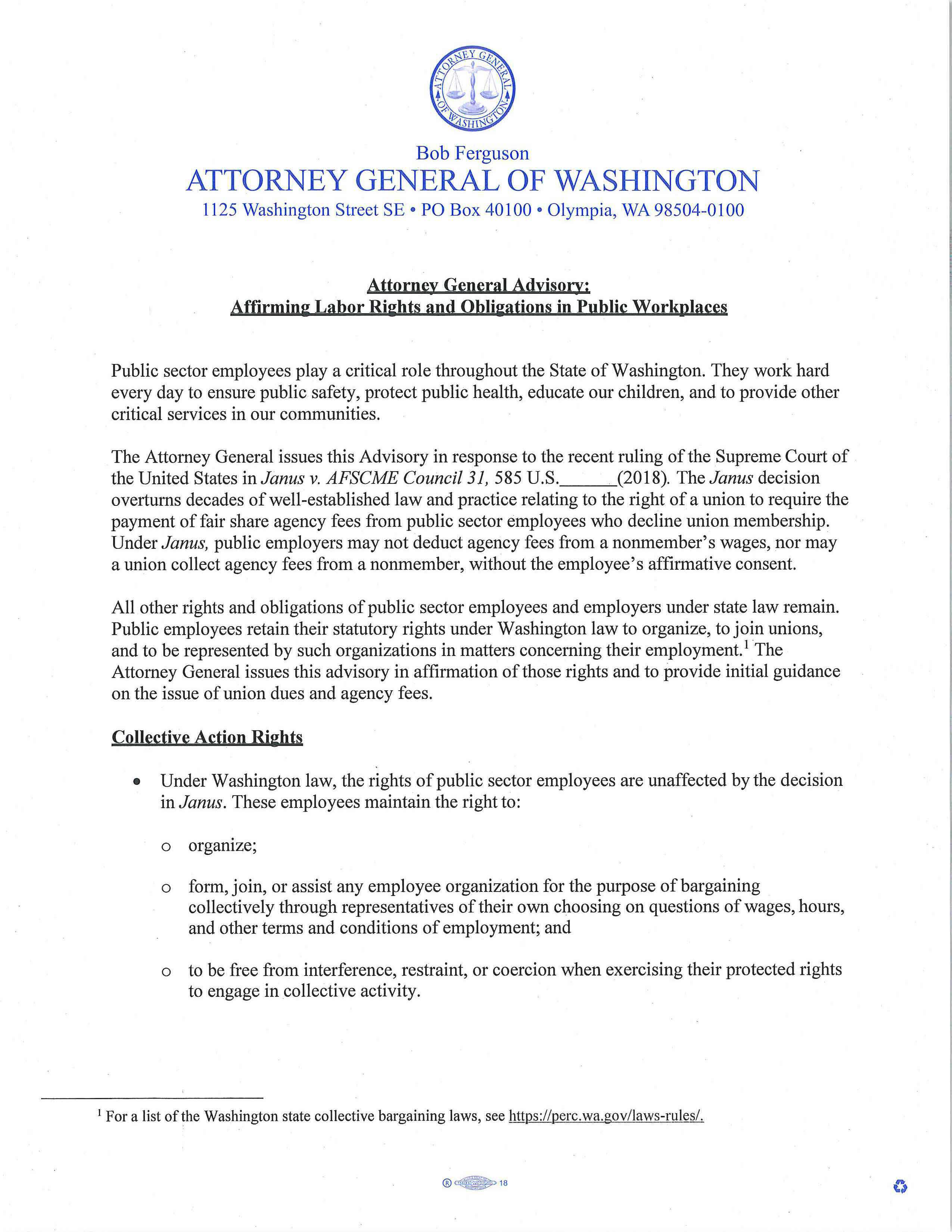 Attorney General Advisory (click for link)
