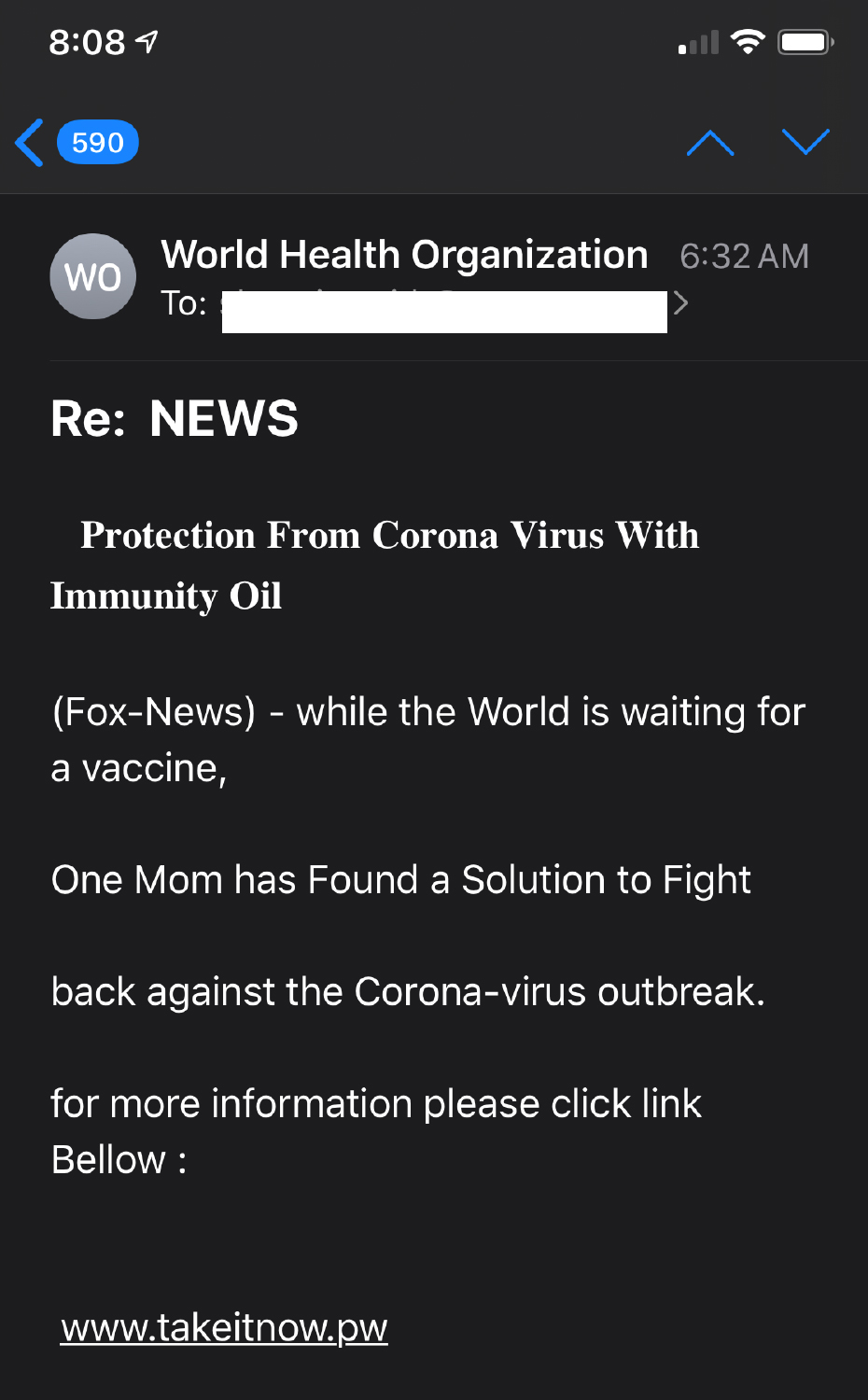 Image of scam email sent to Washingtonian